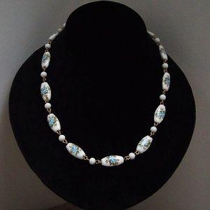 Venetian Millefiori Glass Beads Blue Rose Necklace